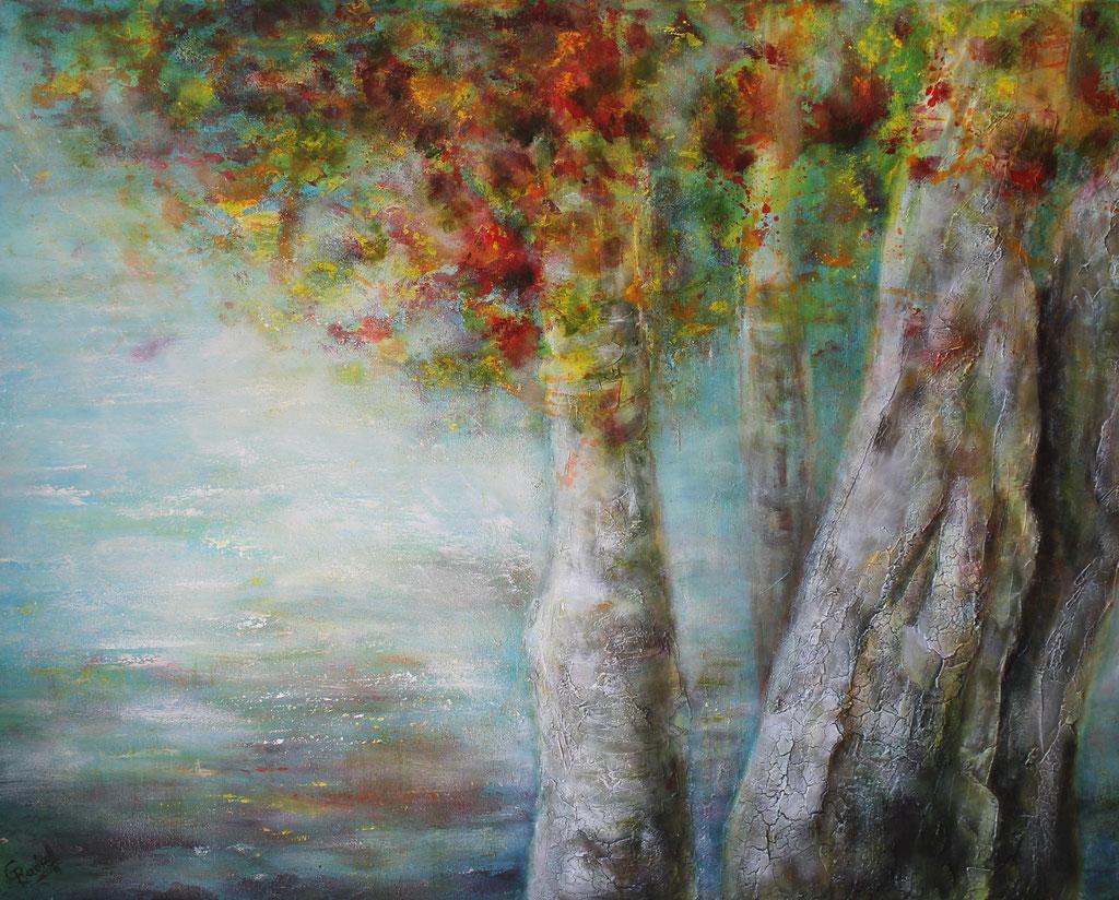 Herbstbirken am See | Acrylmischtechnik | 80cm x 100cm | verkauft