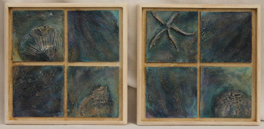 Strandgut | Acrylmischtechnik, Malpappen auf Holz gerahmt | je 24cm x 24cm