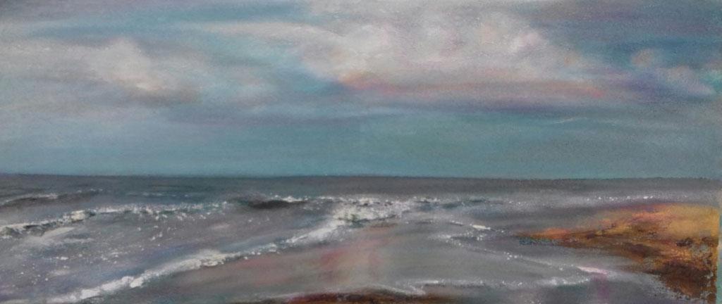 Strandspiegelung | Acrylmischtechnik | 30cm x 60cm | verkauft