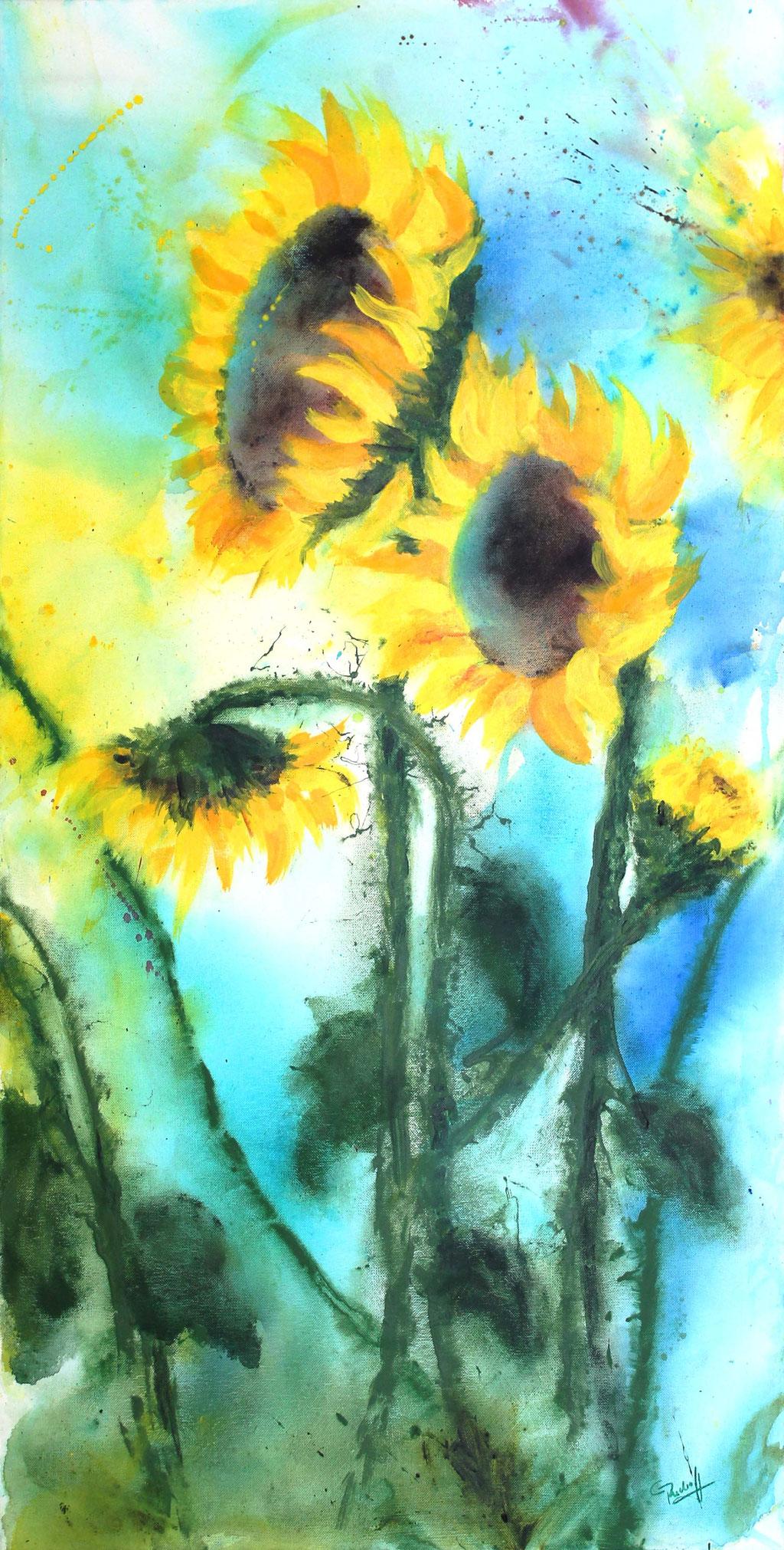 Sonnenblumen | Acryl | 100cm x 50cm | verkauft