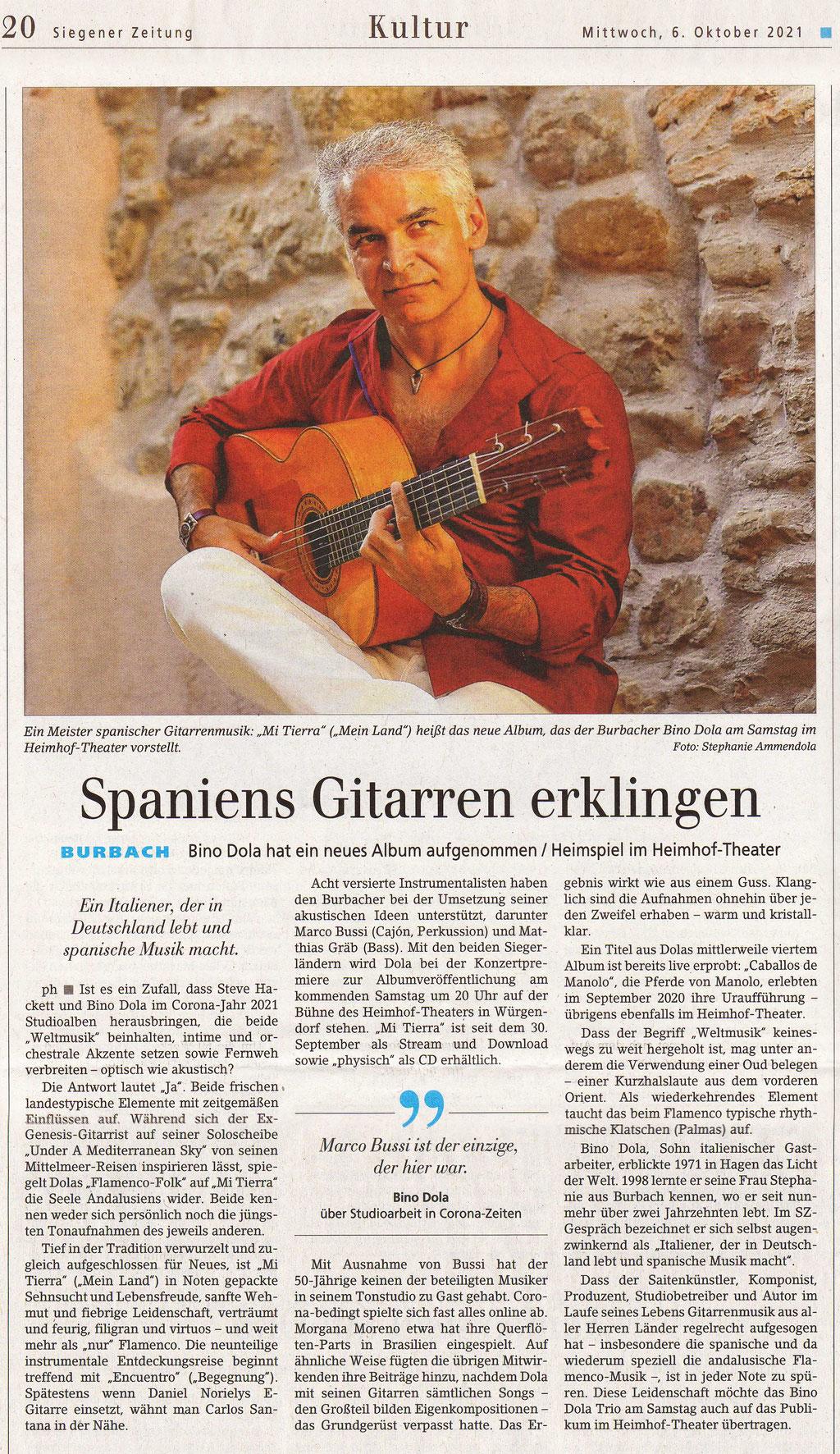 Mi Tierra - Neues Album (Siegener Zeitung, 06.10.2021)