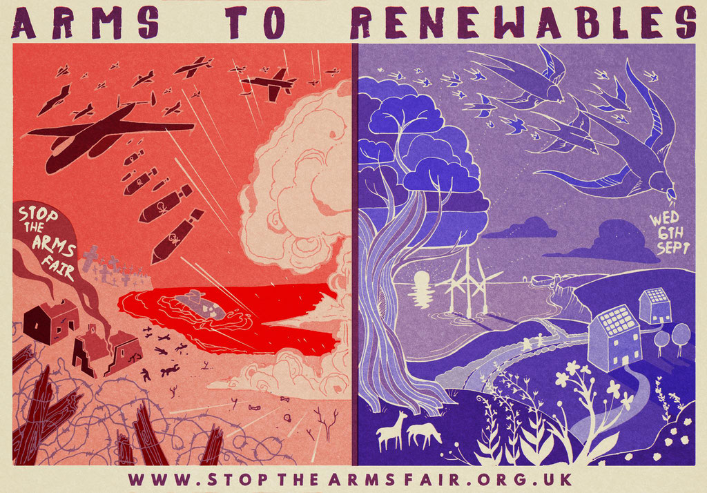 For Campaign Against The Arms Fair during the DESI Arms Fair blockades. 2017. Printed with plant inks (a non-toxic, zero waste printing technique called risography)