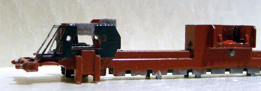 Rahmen von der Heizerseite mit neu angesetzem vorderen Acrylelement