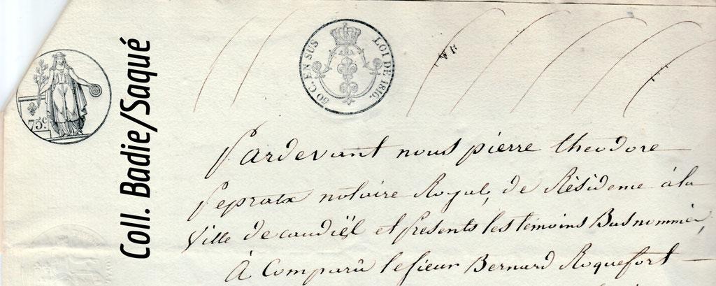 Procuration enregistée en 1822