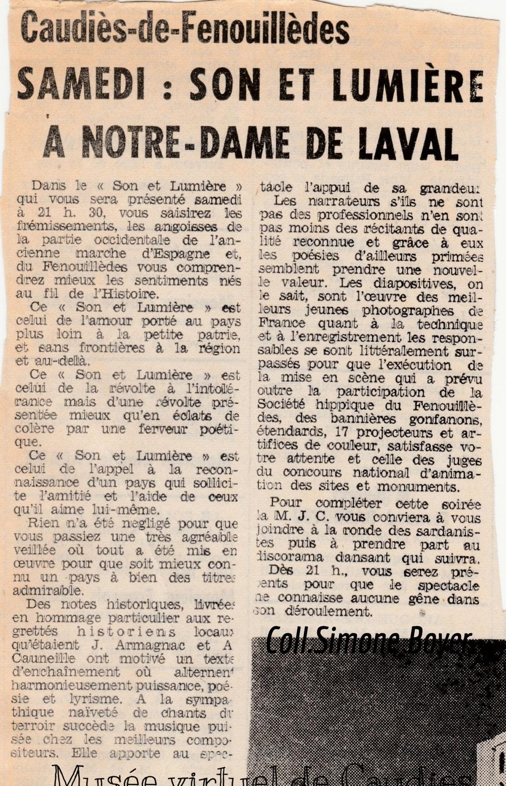 Son et Lumière de 1971 Article de l'Indépendant