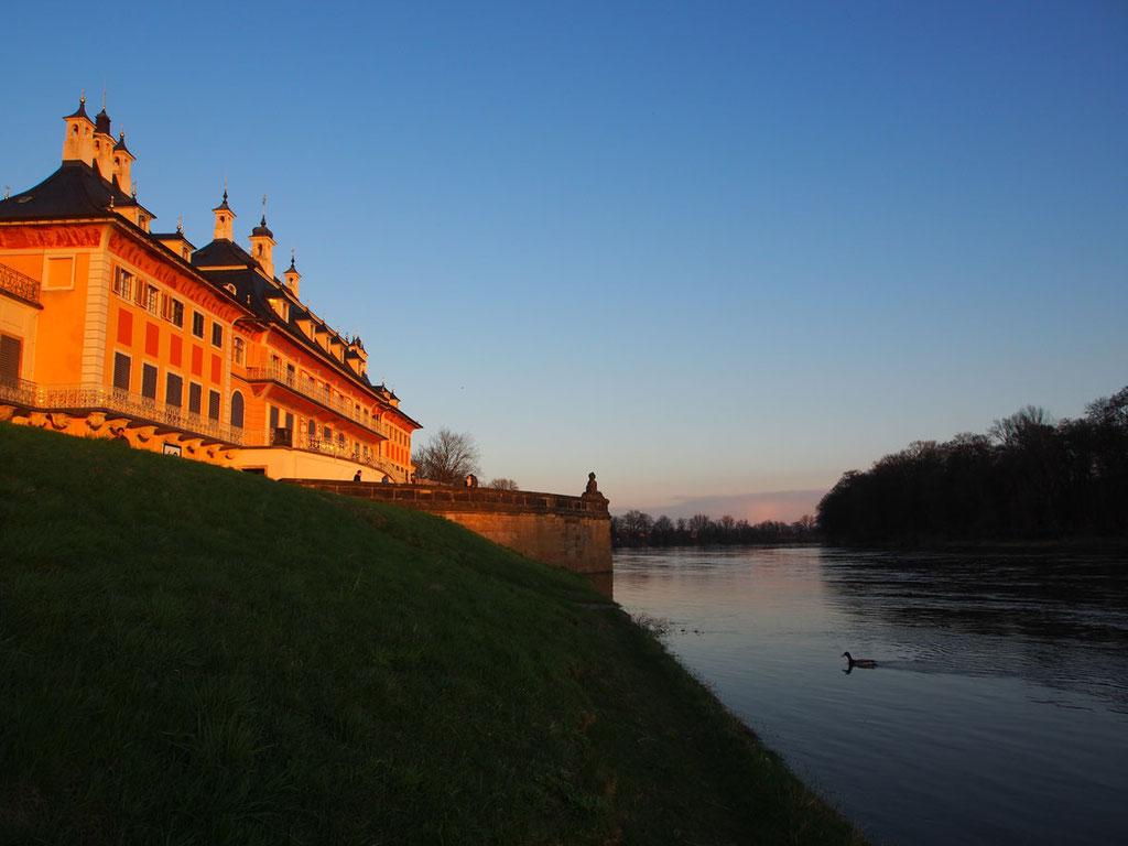 Schloss Pillnitz bei Dresden an der Elbe, das Lustschloss von August dem Starken