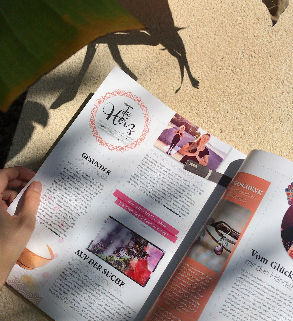 our recycled mats got featured in german happinez magazine.