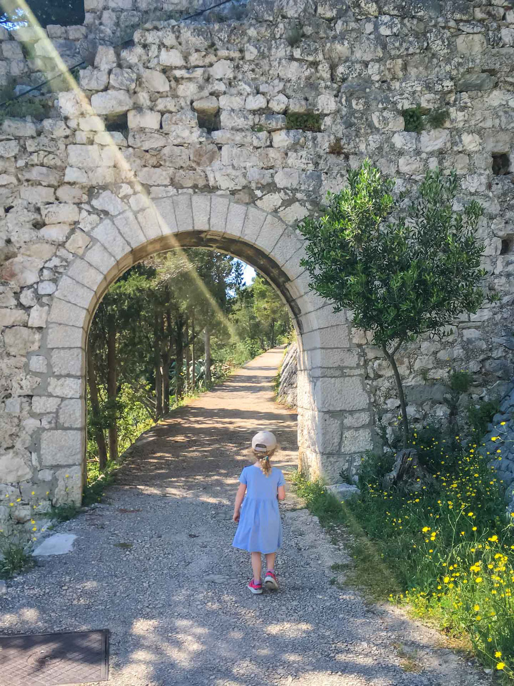 Walking up to the Fortress in Hvar Croatia with Kids