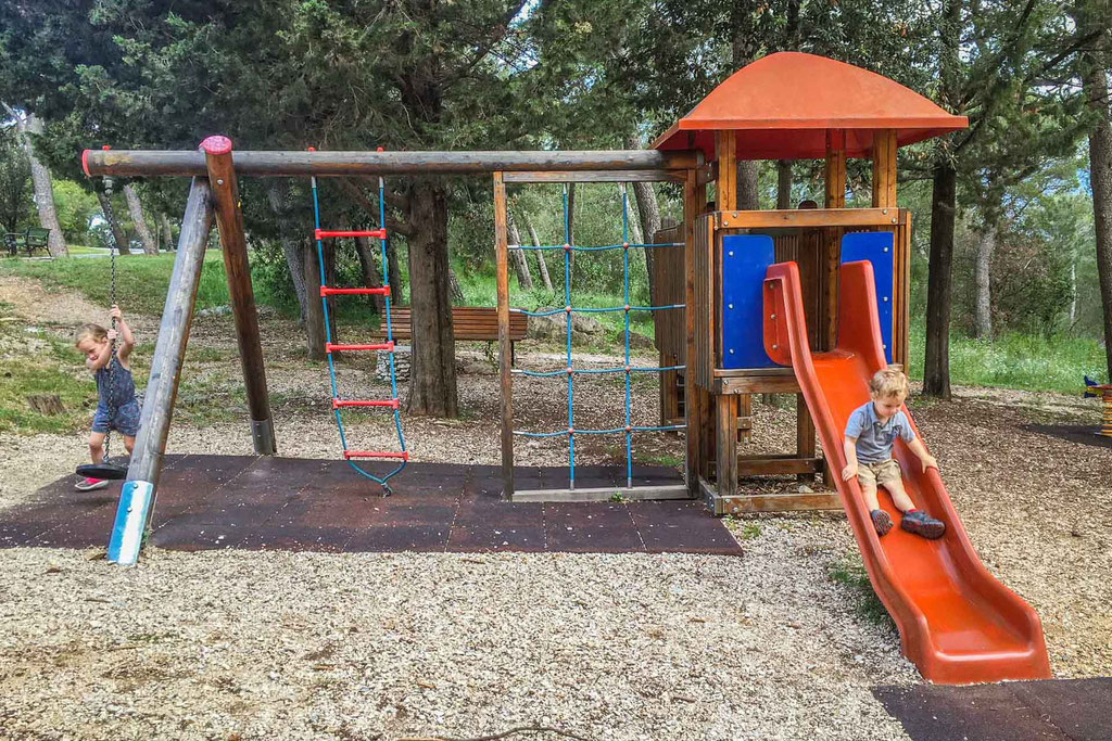 Playground in Marjan Park in Split Croatia with kids