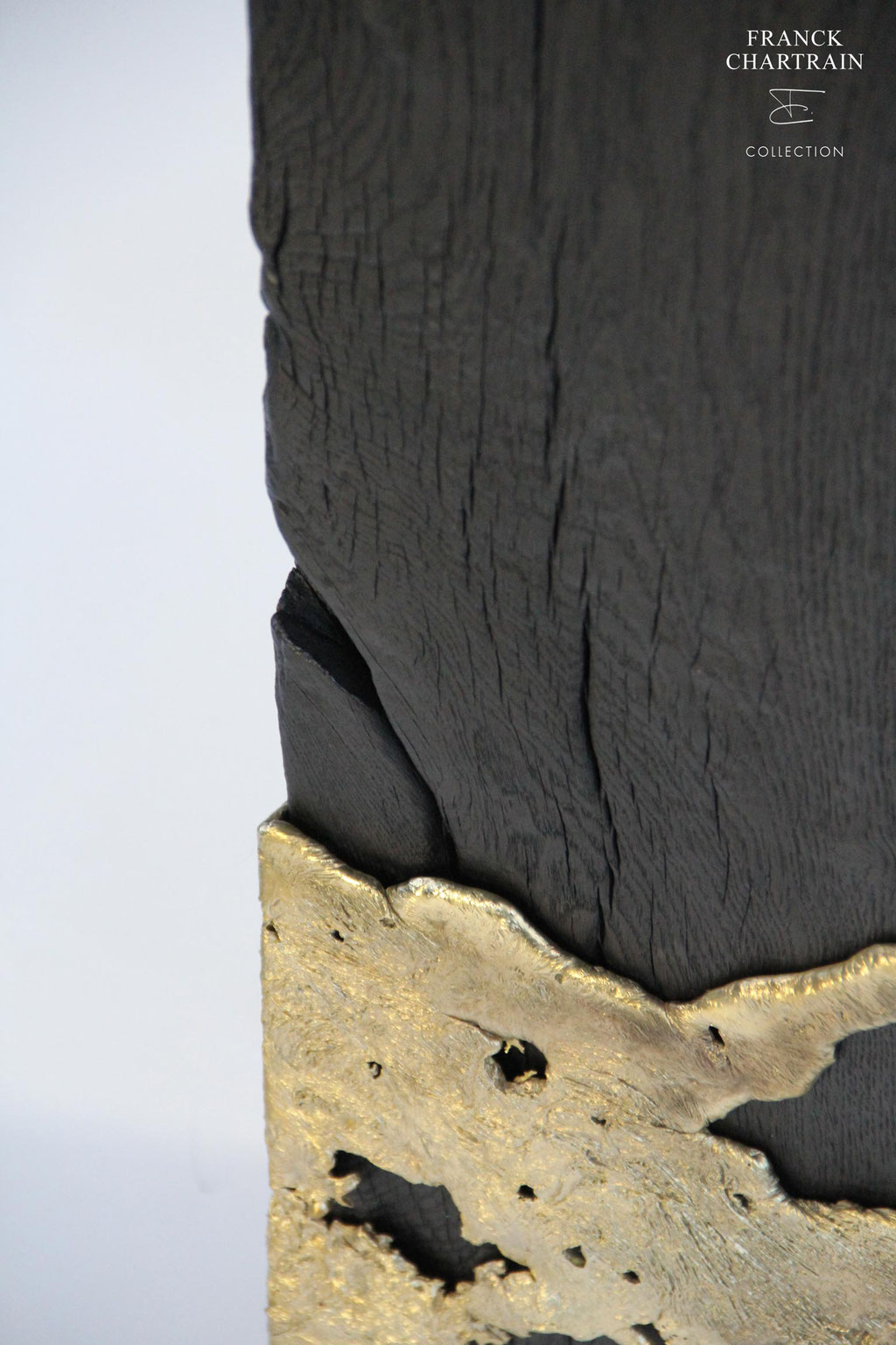PHOENIX PEDESTAL, Bronze,charred wood