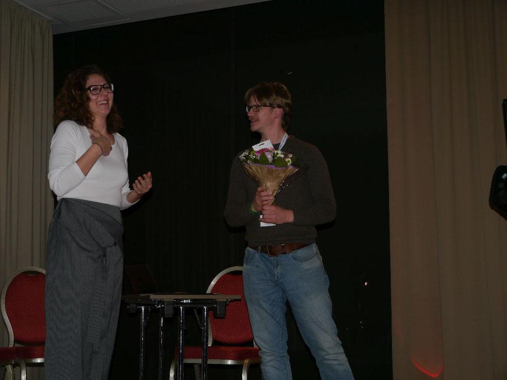 5. DeafIT Jubiläumsfeier: TNicole Weißkopf (links) & Manuel Gnerlich (rechts)