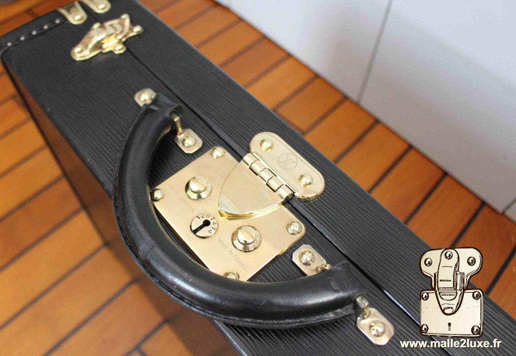 Valise président Louis Vuitton cuir epi noir serrure laiton