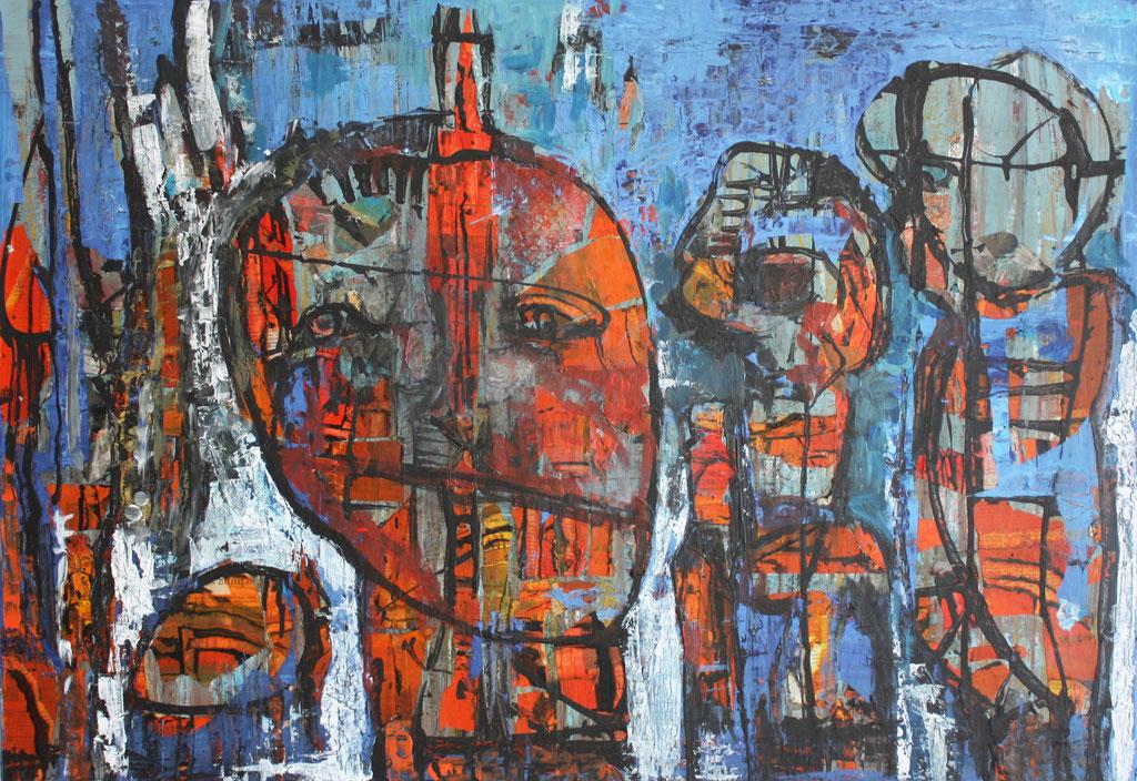 Monika Krömer, 3 Köpfe, 70 x 100cm, Acryl auf Leinwand, www.kroemer-webgalerie.de