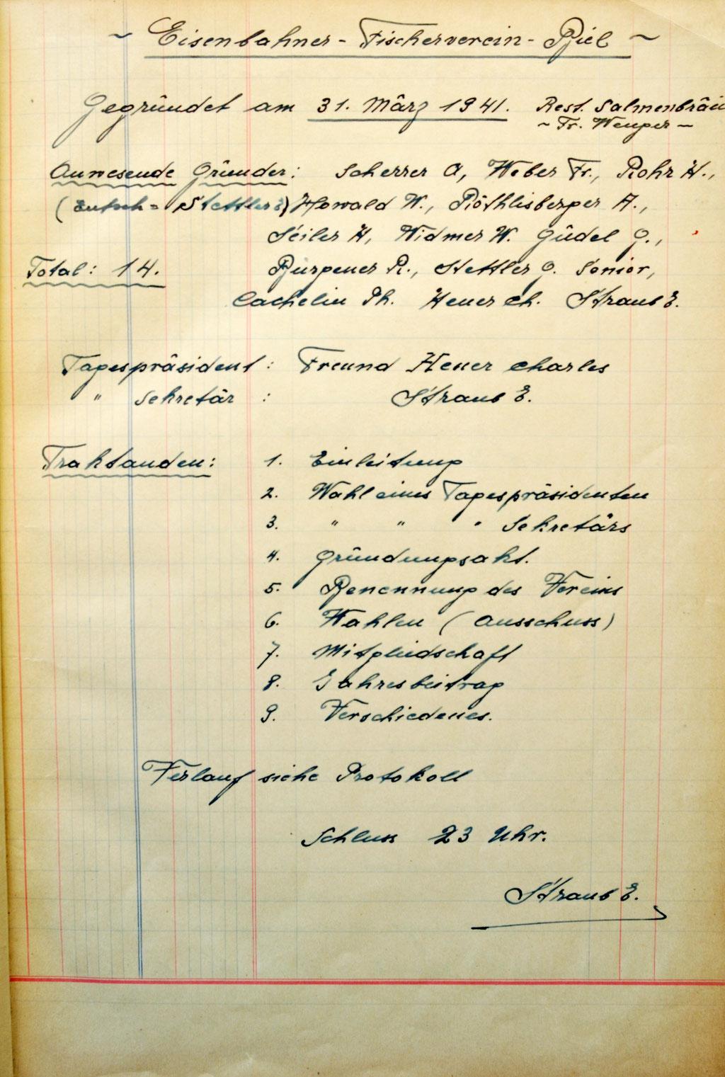 Die Ur-Schrift des E.F.V. Biel Bienne