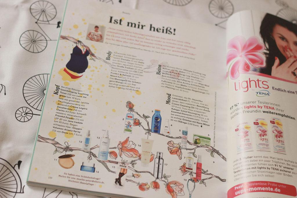 Editorial Illustration für die ELTERN 08/2015: Beauty-Seite