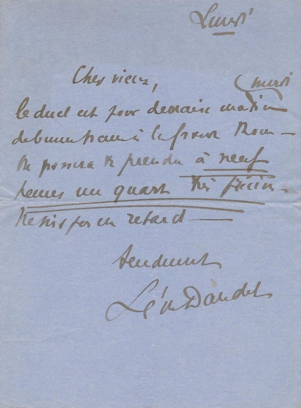 Lettre autographe de Léon Daudet