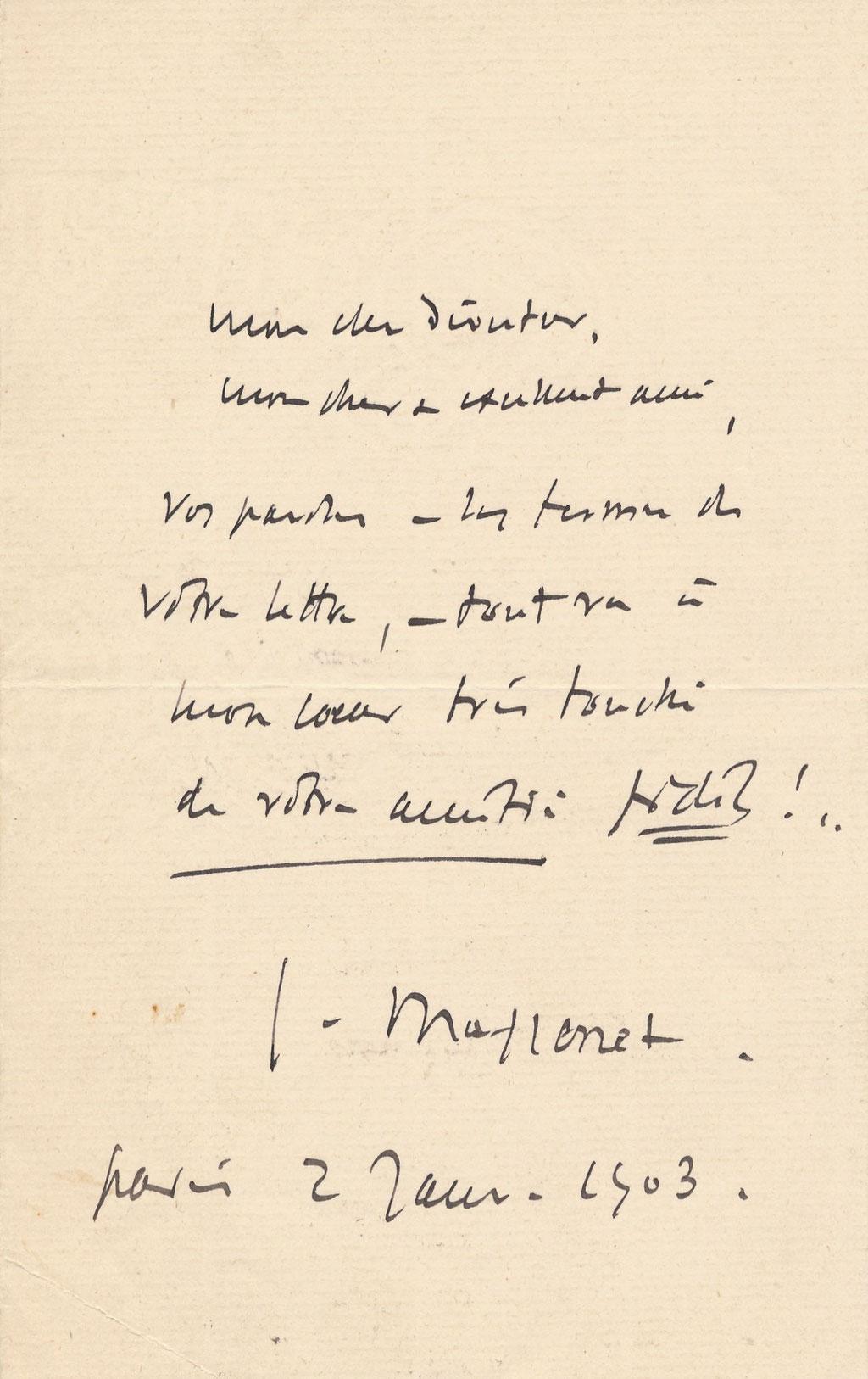 Jules Massenet Lettre autographe signée adressée à un ami