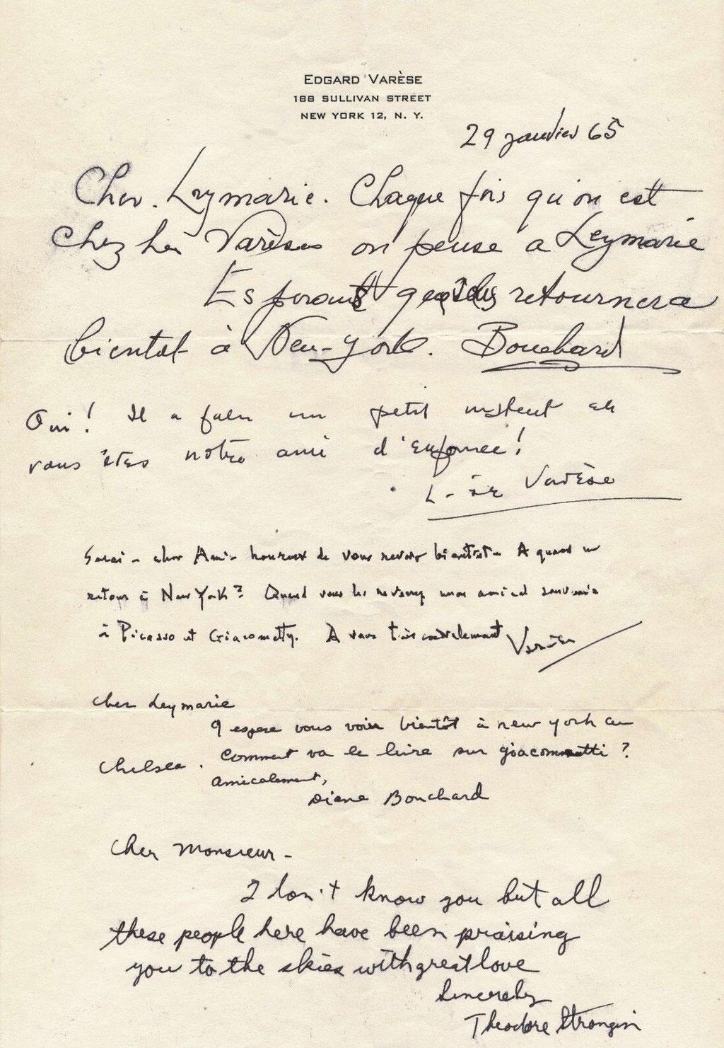 Edgard Varèse autographe