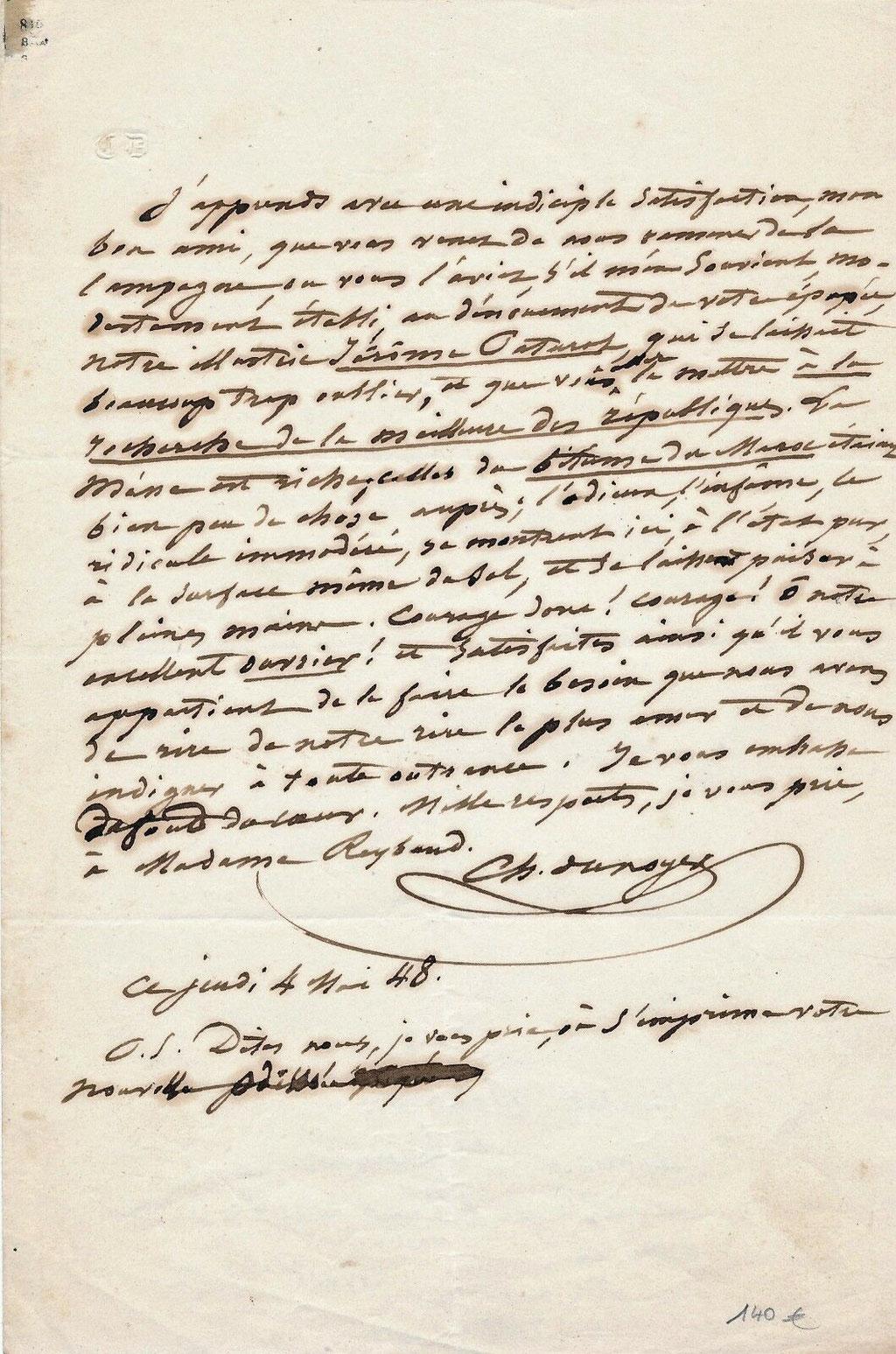 Lettre autographe de Charles Dunoyer