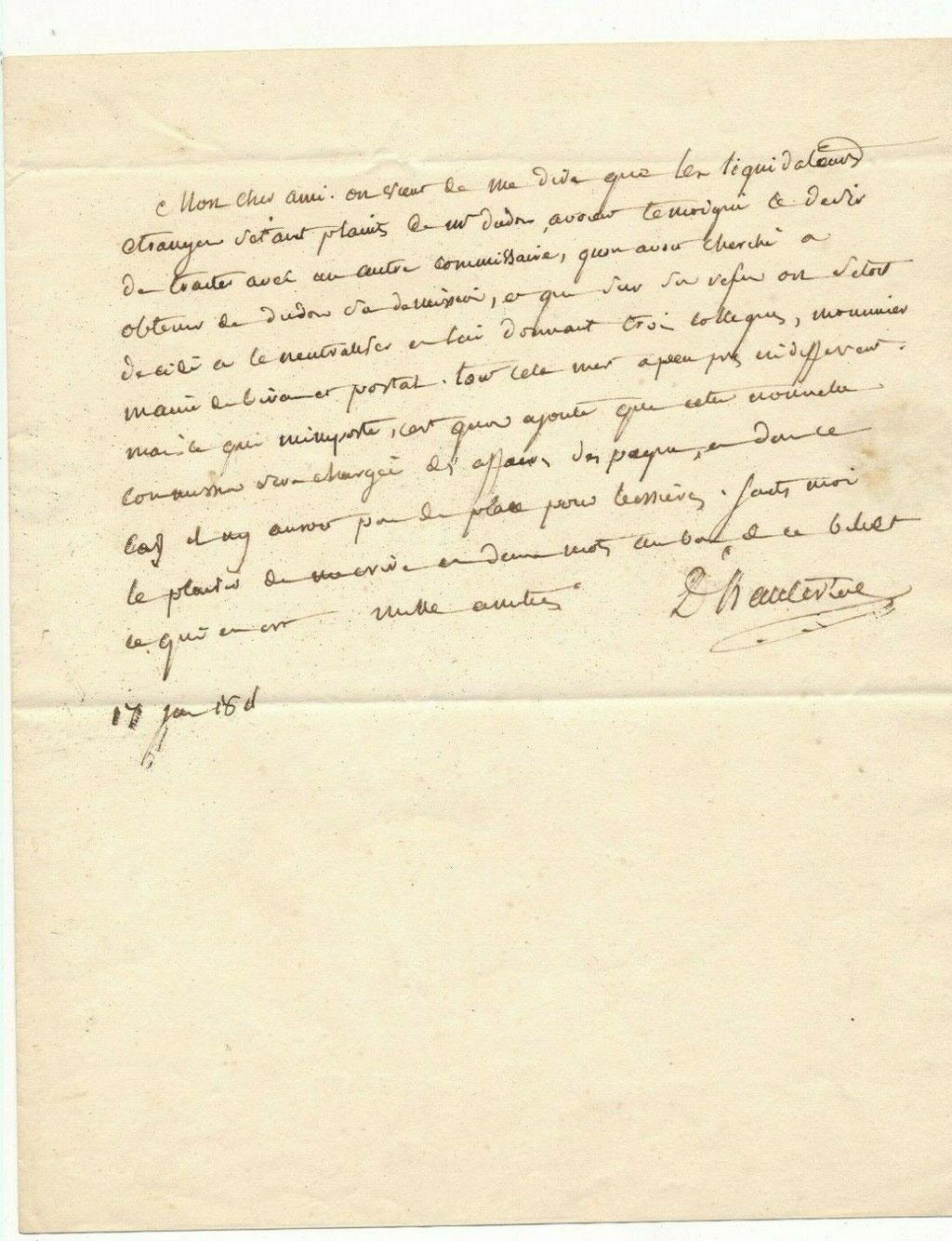 Blanc de Lanautte, comte d'Hauterive, lettre autographe signée