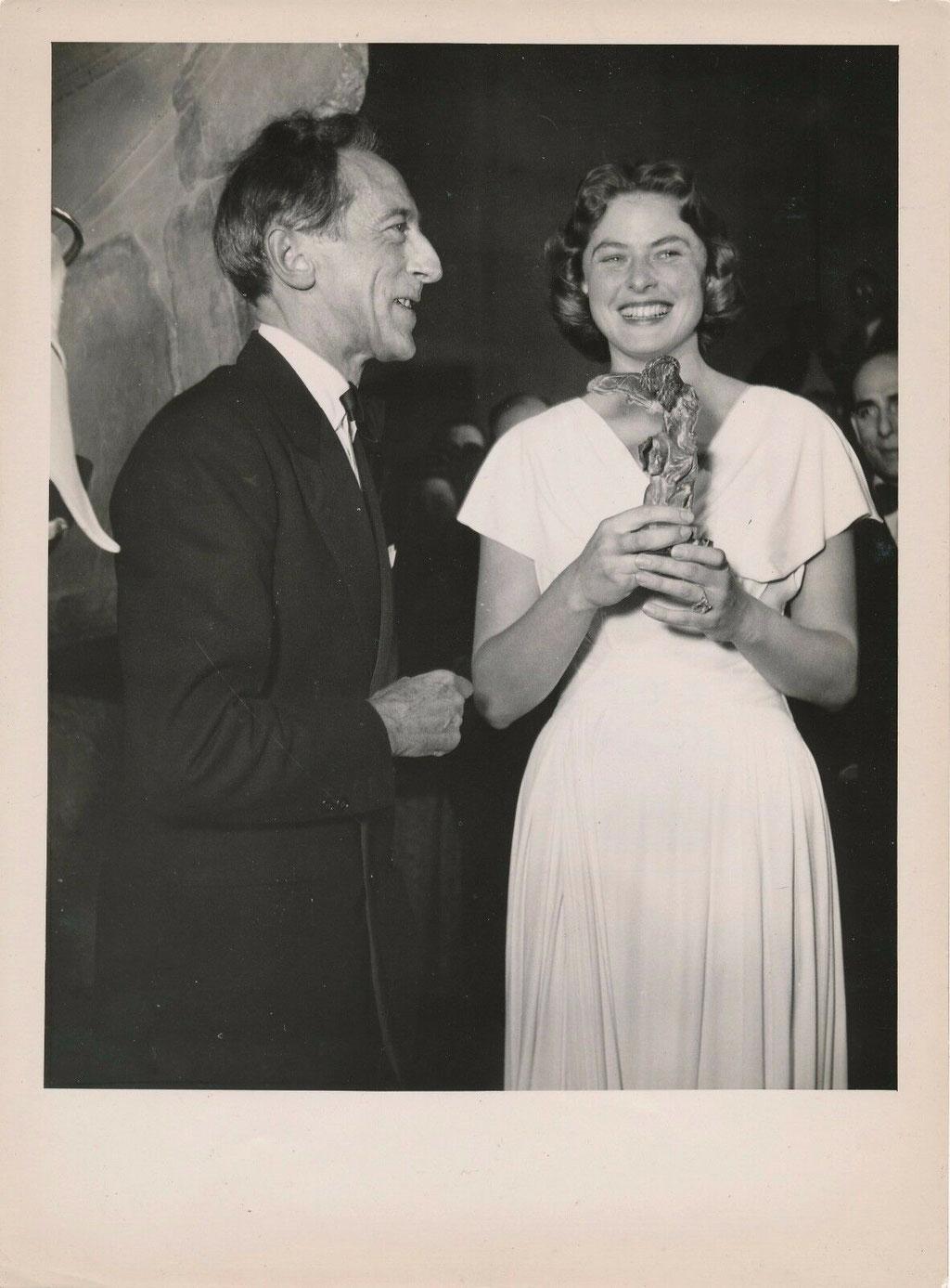 Ingrid Bergman et Jean Cocteau photo photographie