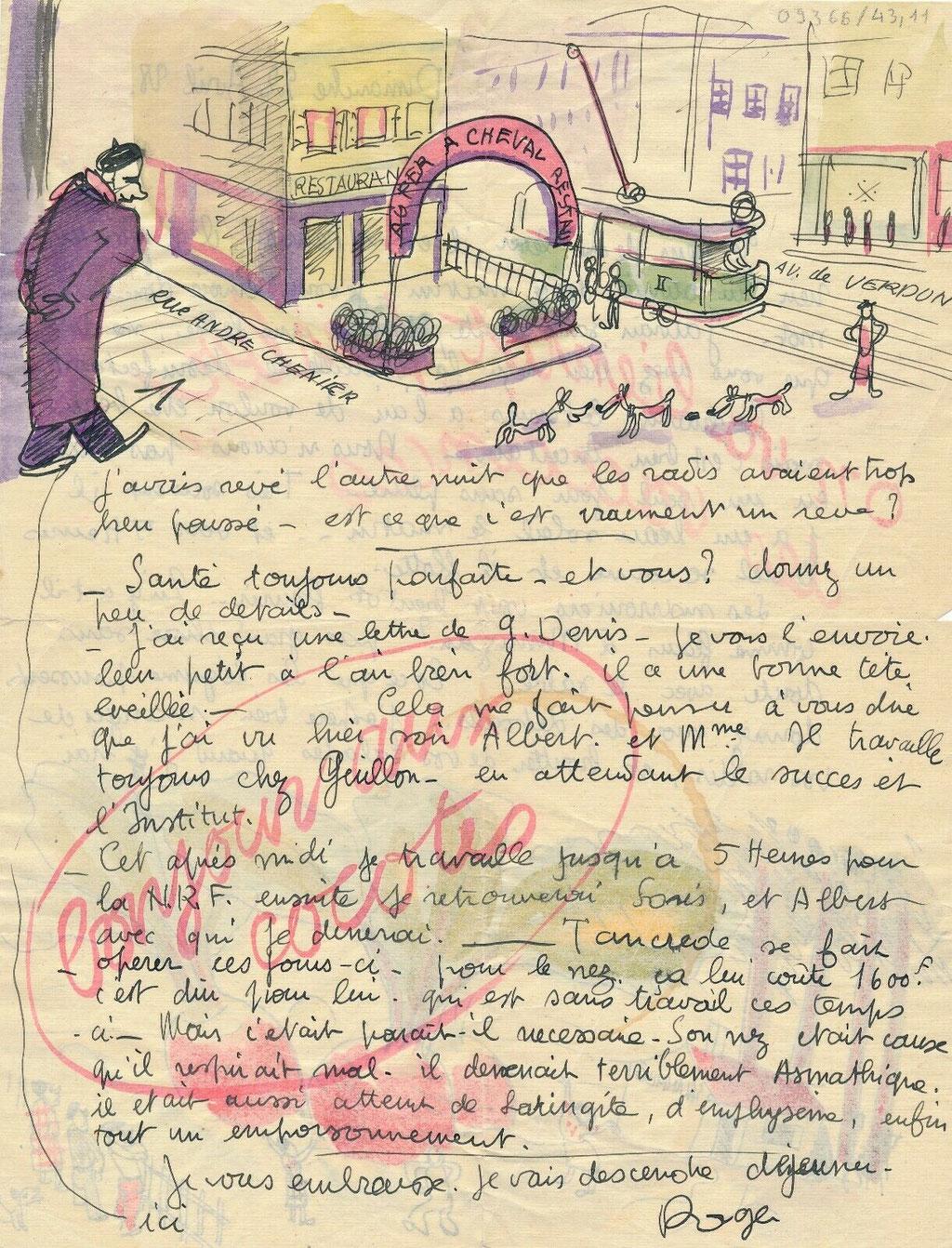 Roger Parry lettre autographe signée