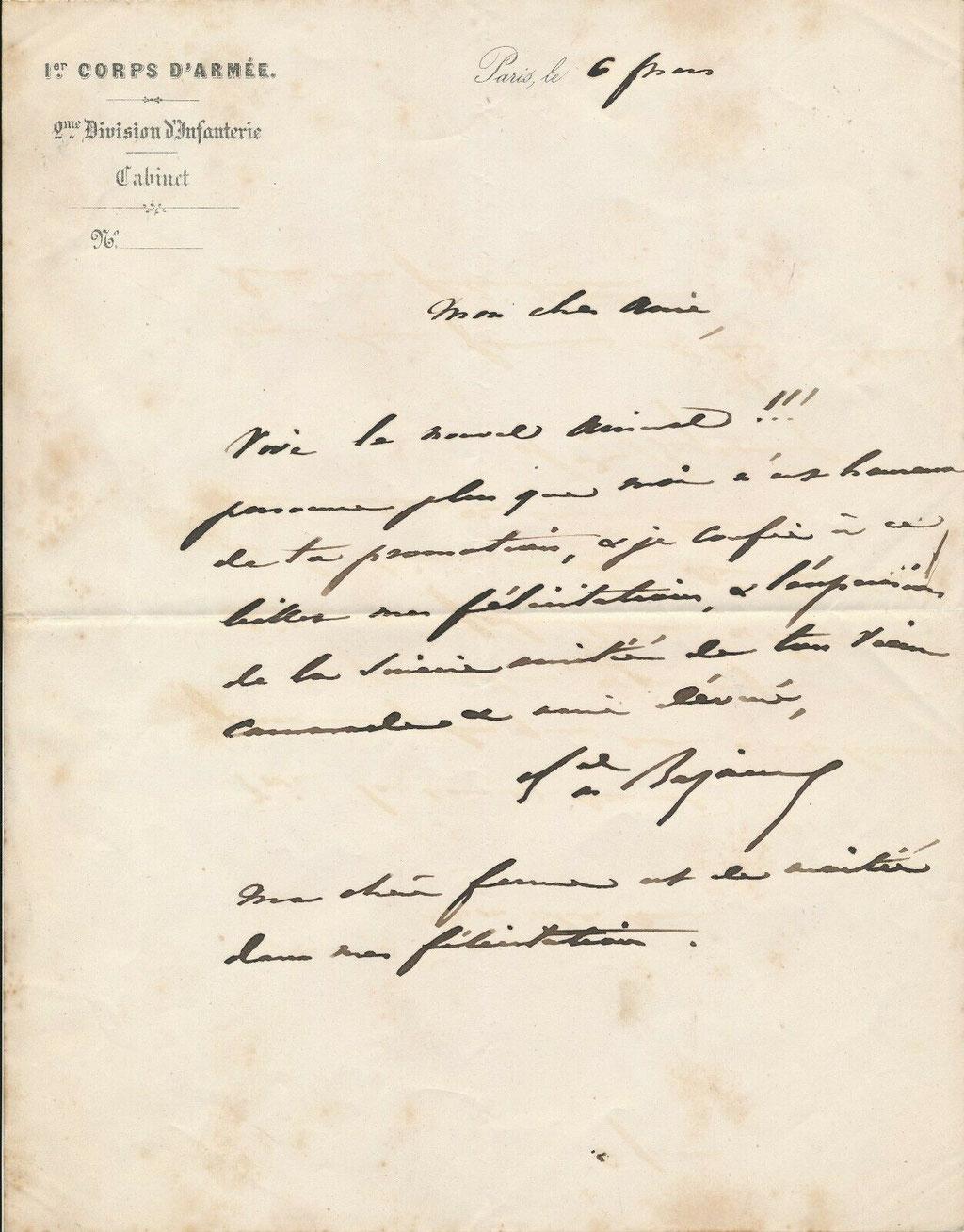 Lettre autographe de François Achille Bazaine