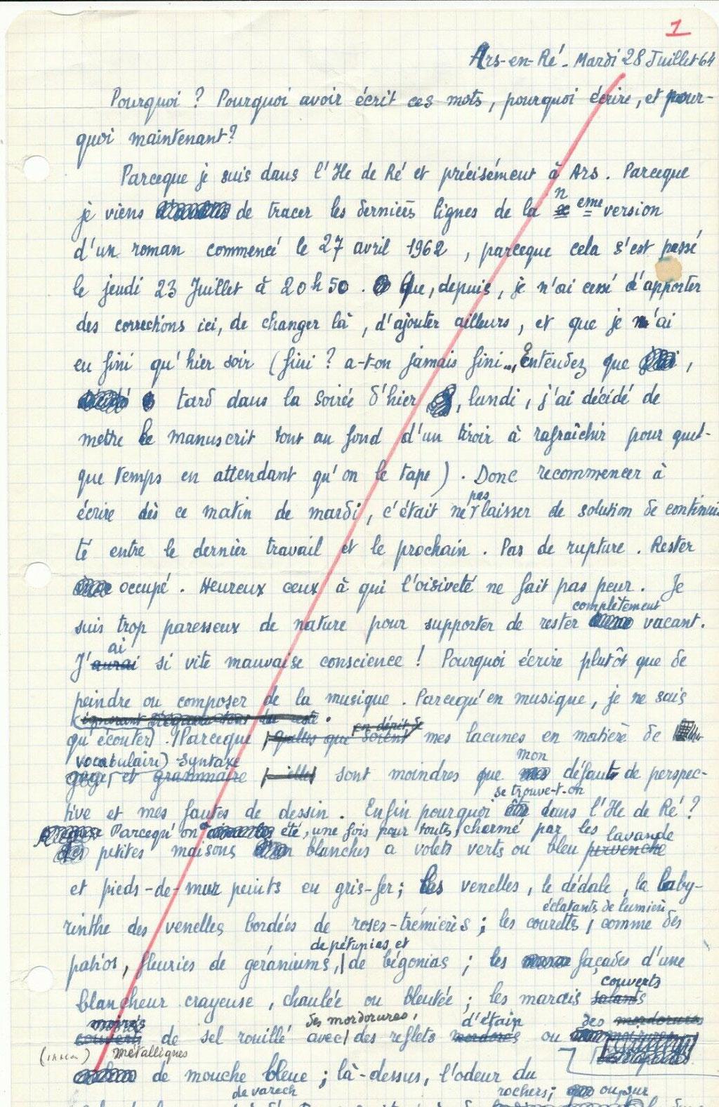 Jean Jacques Gautier manuscrit autographe