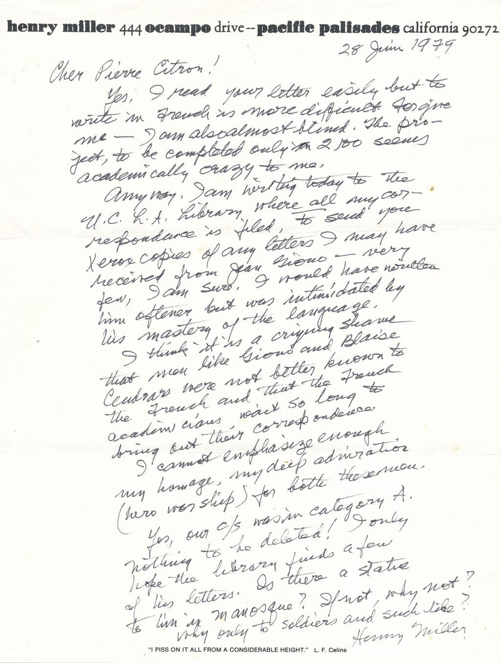 Henry Miller lettre autographe signée
