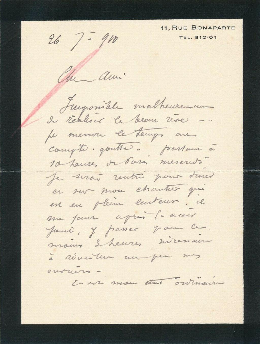 Charles Genuys lettre autographe signée