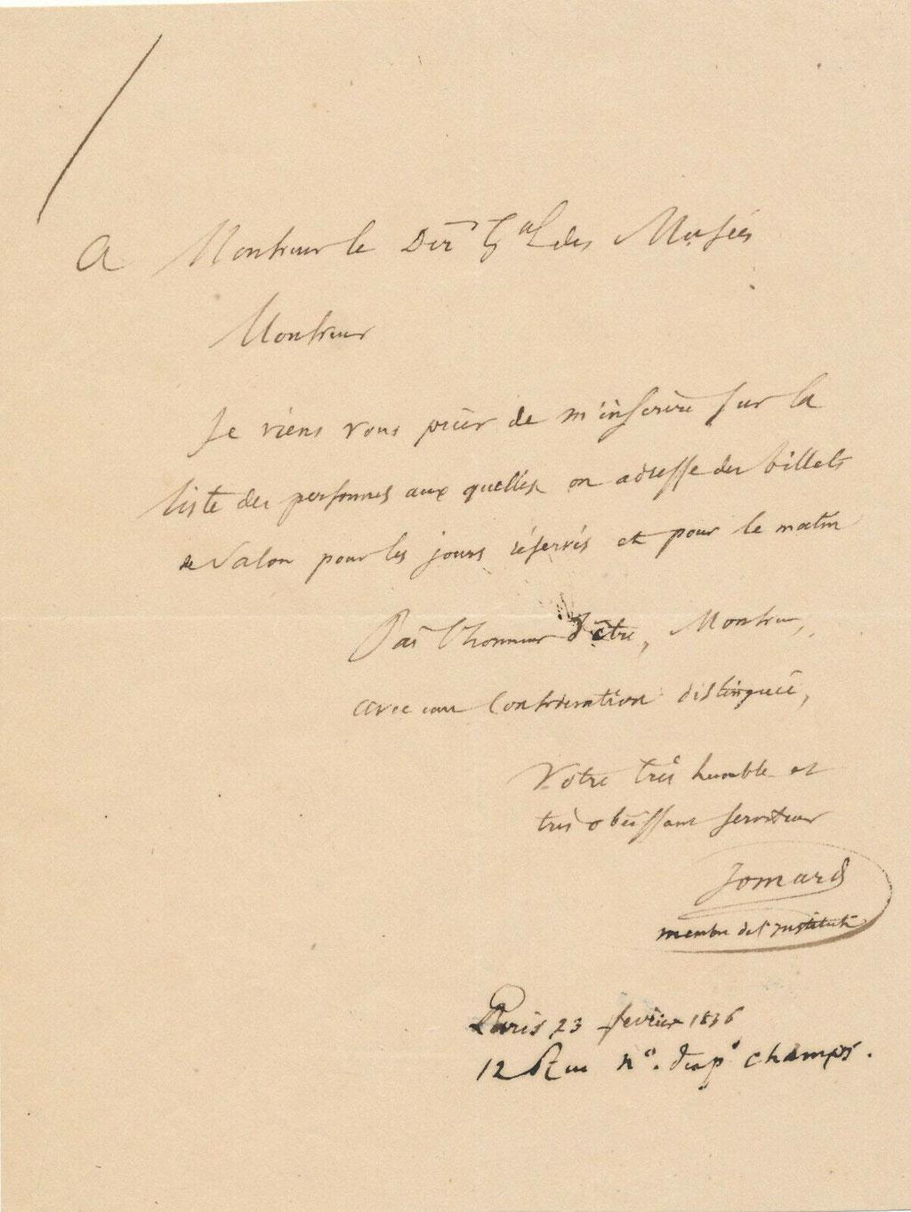 Edme François Jomard, lettre autographe signée