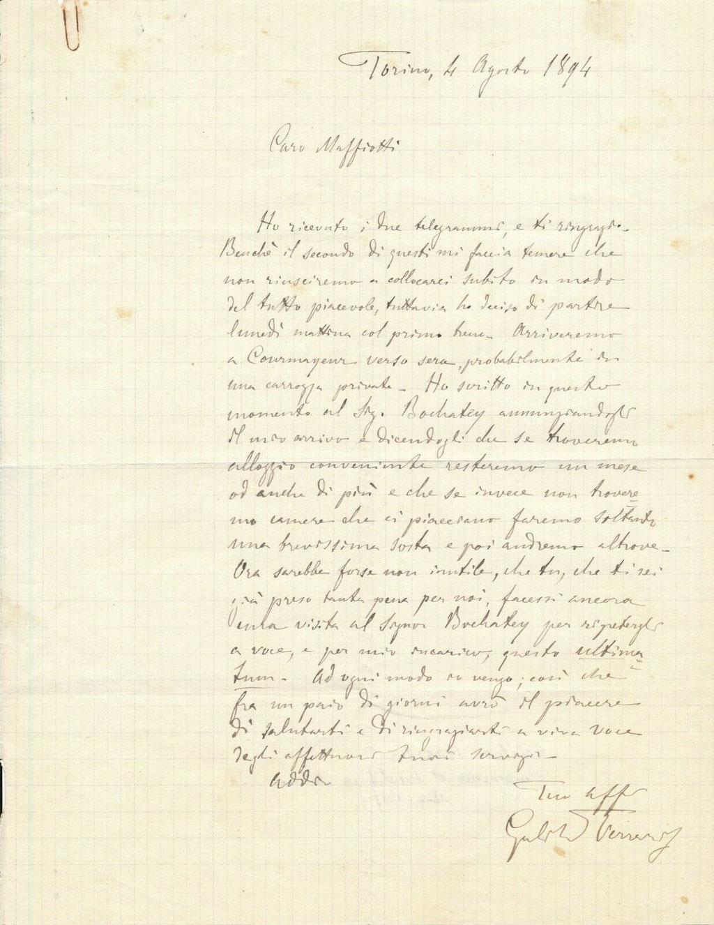 Lettre autographe signée de Galileo Ferraris