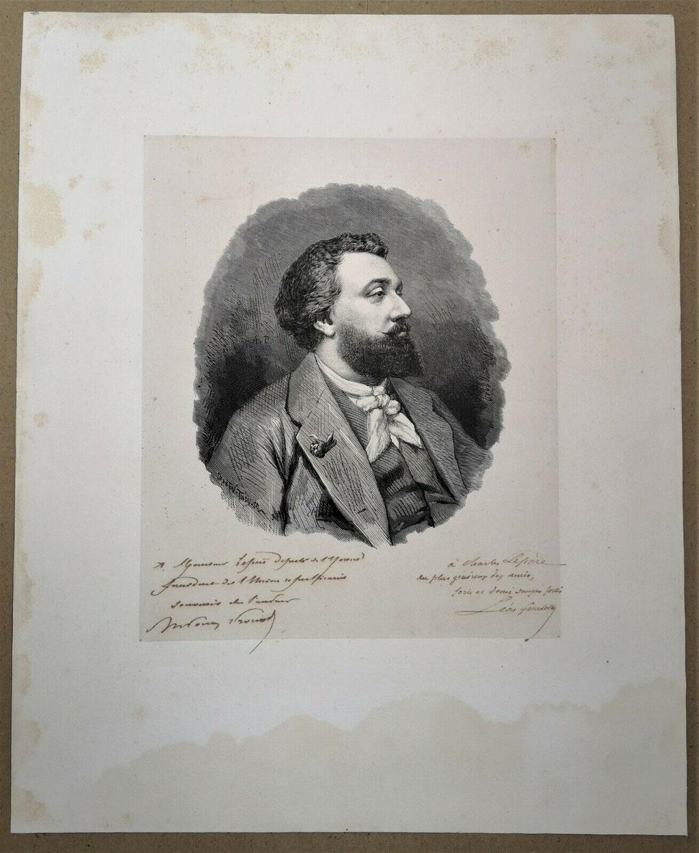 Léon Gambetta, portrait lithographique signé et dédicacé