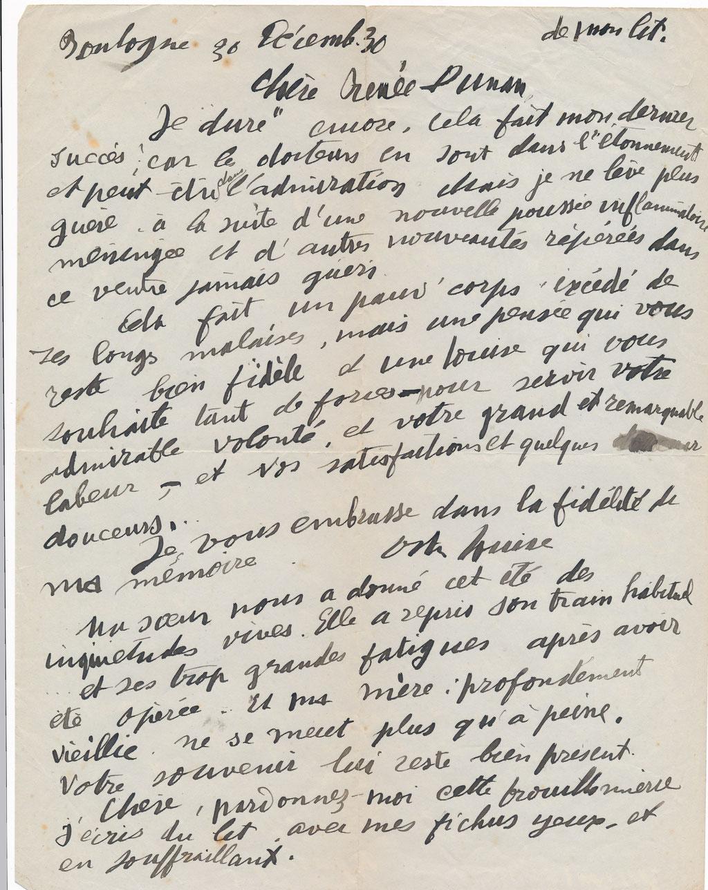 Louise Hervieu  : lettre autographe signée