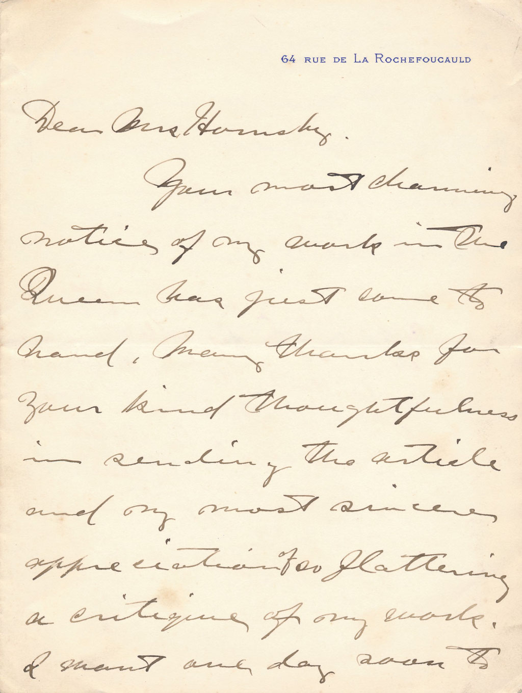 William Samuel HORTON lettre autographe signée