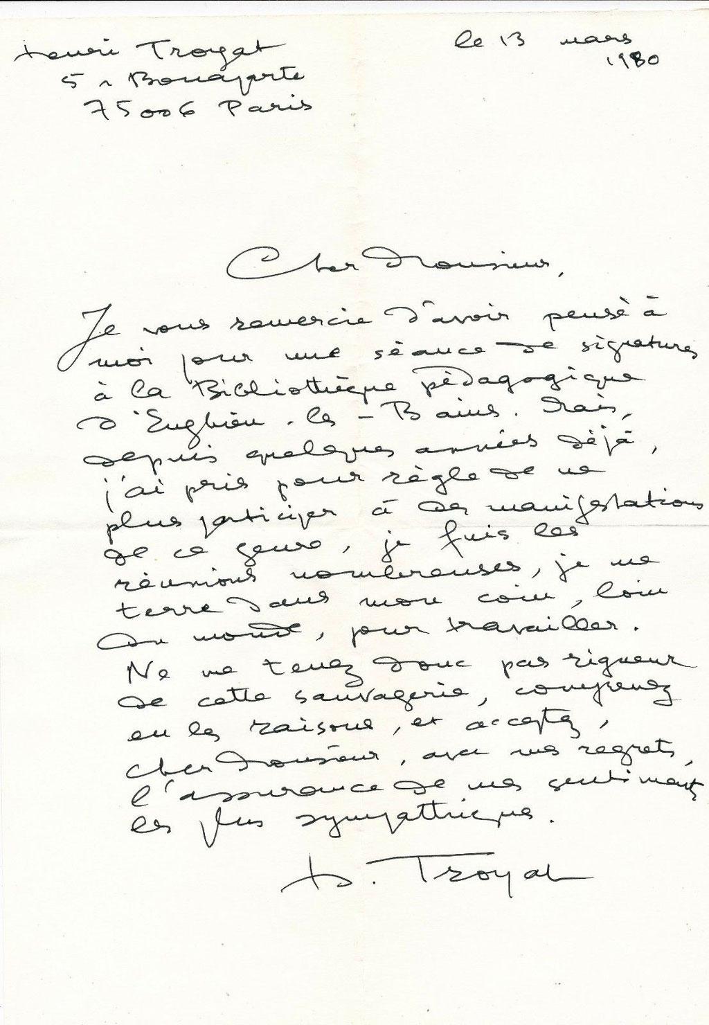 Henri Troyat lettre autographe signée