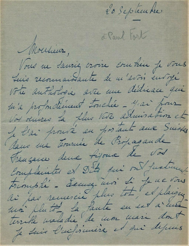 Lettre autographe signée de Véra Sergine
