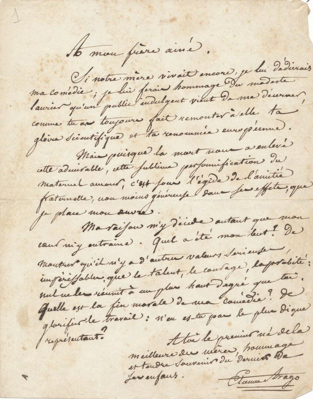Etienne Arago lettre autographe signée