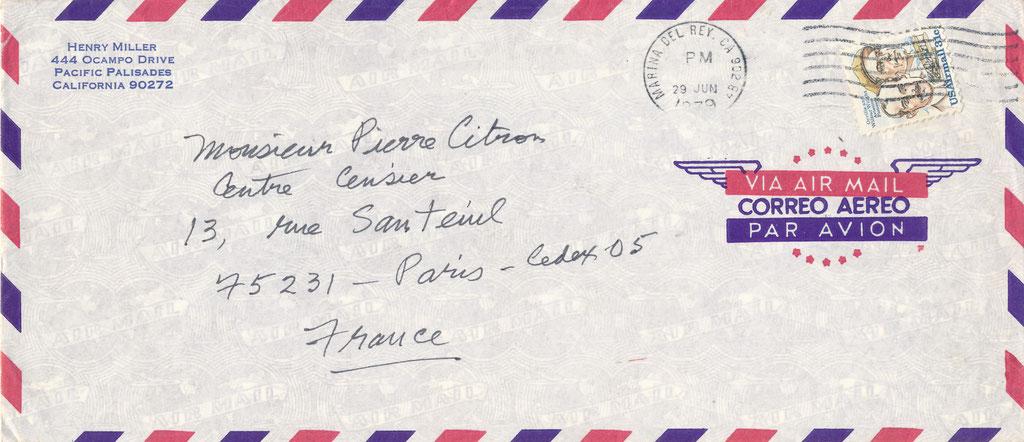 Henry Miller enveloppe autographe