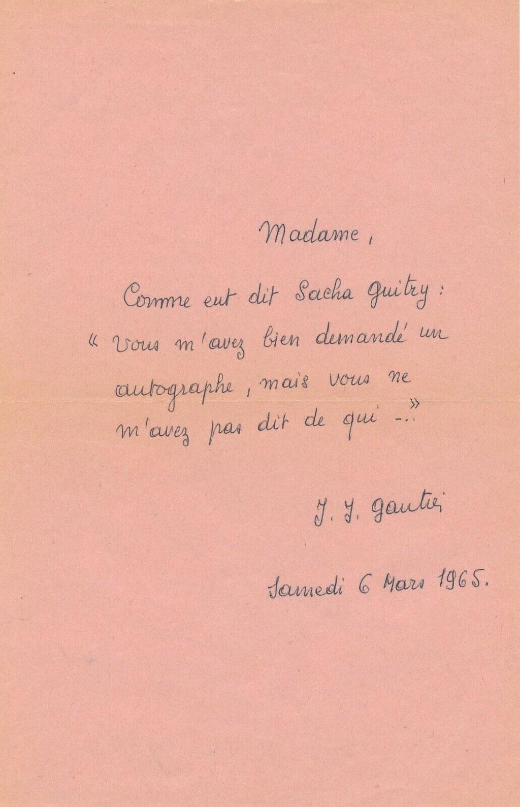 Jean Jacques Gautier lettre autographe signée