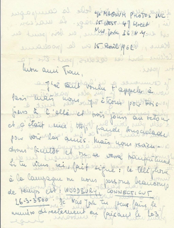 Inge Morath lettre autographe signée