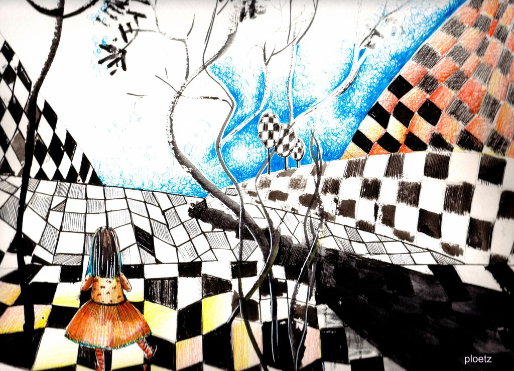 Inspired by Alice 4, 24 x 32 cm, ink and watercolour on paper, 2015