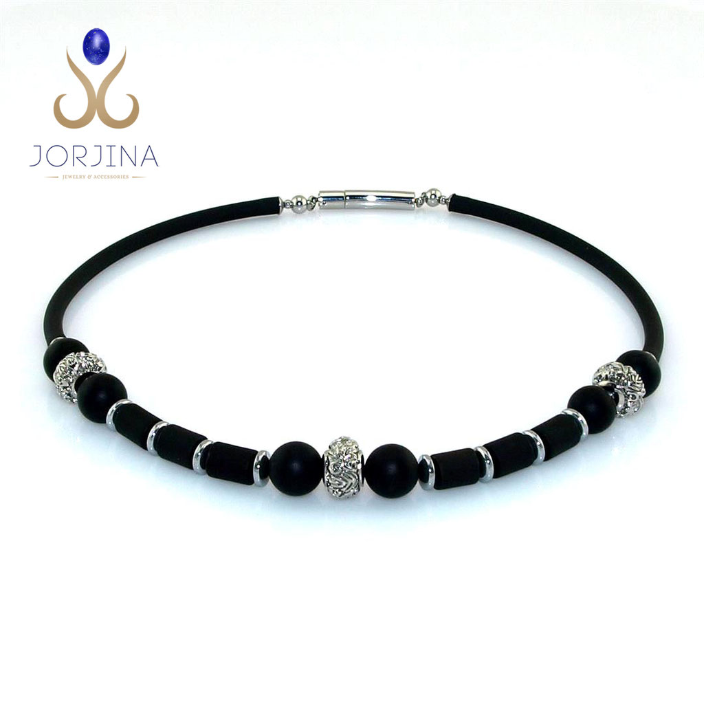 Man Art-Deco Necklace with Onyx and Stainless steel