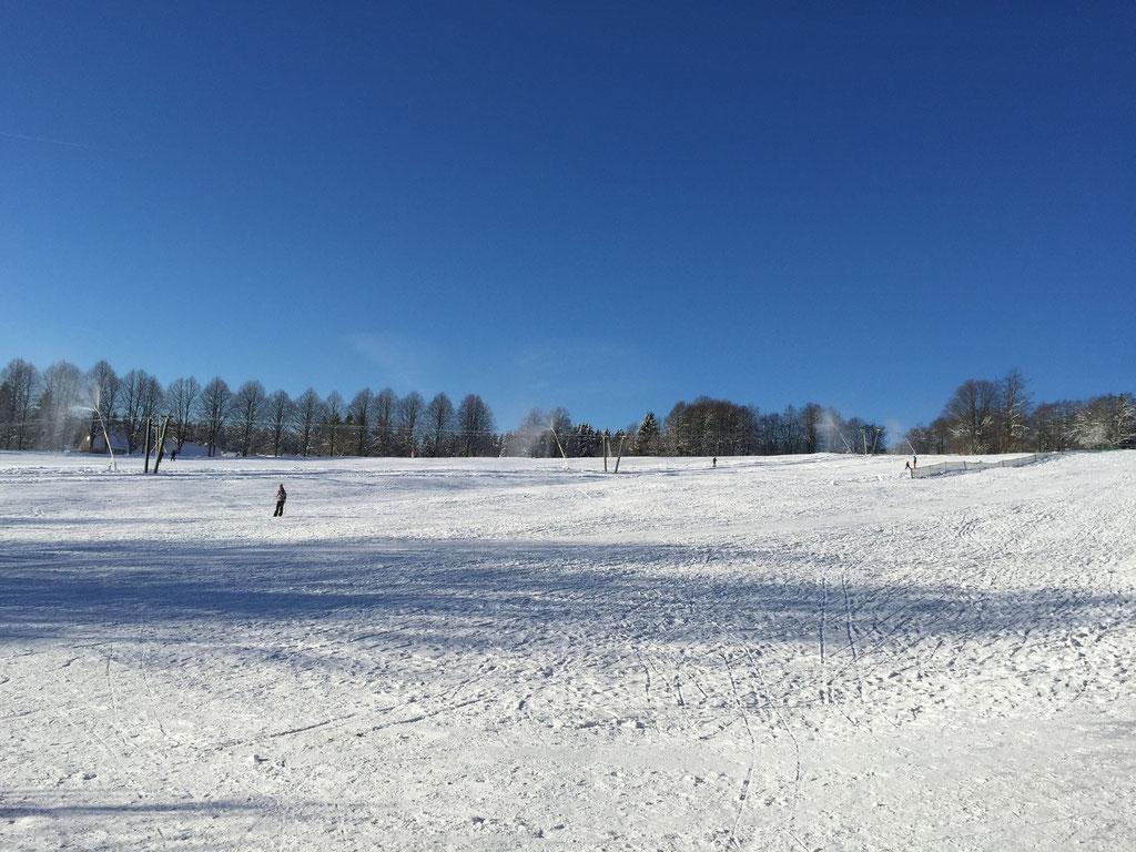 Blick über die Skiwiese von der Terrasse. Am hinteren Ende beginnt die Langlaufloipe.