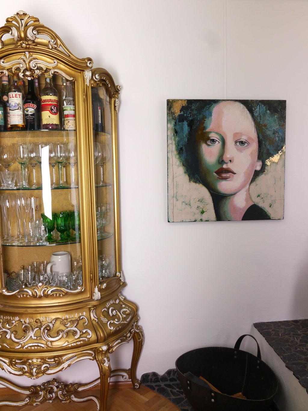 abstraktes Gemaelde Gesicht Frau