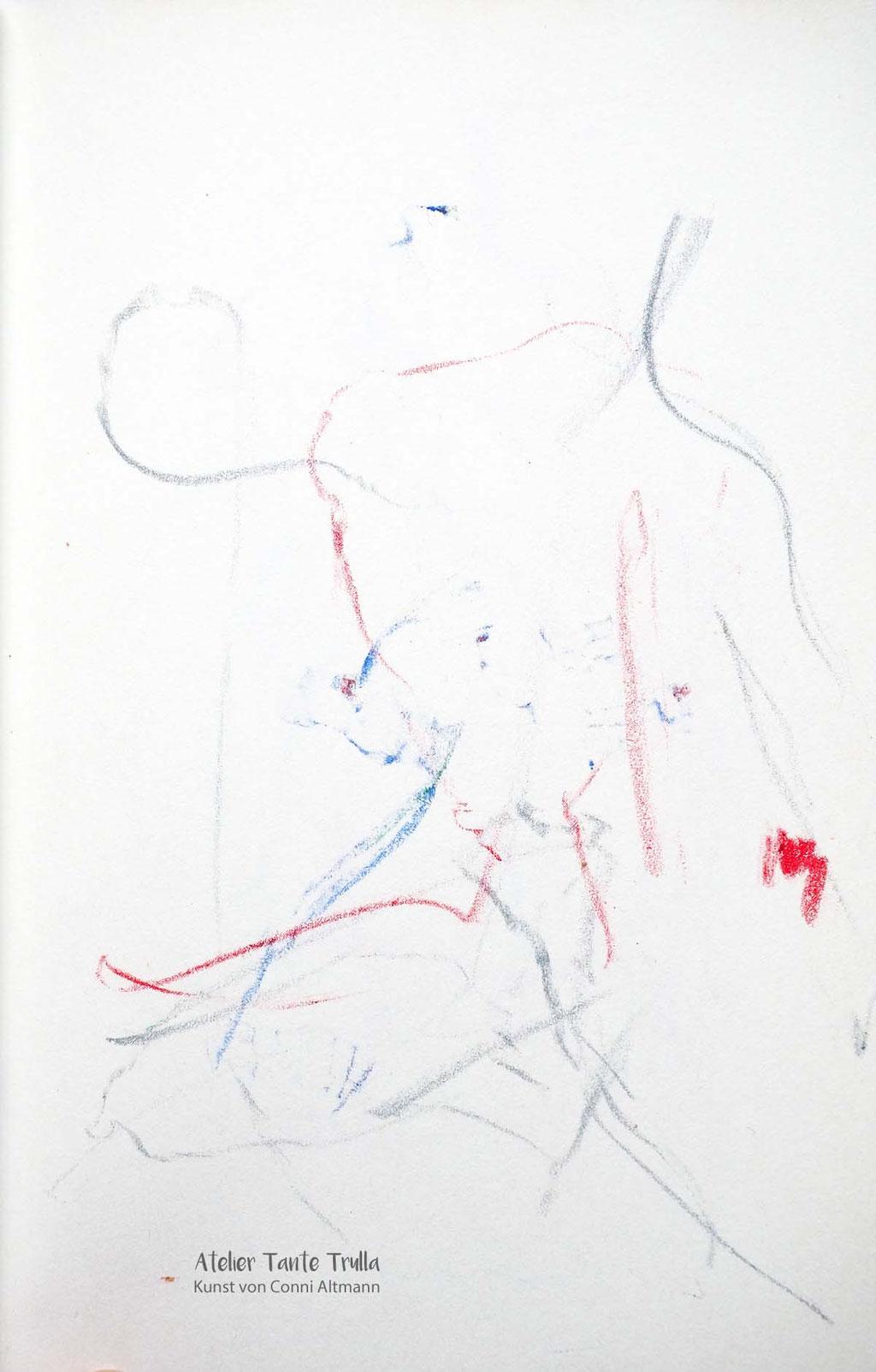 abstrakte Aktskizze, Aktzeichnung www.ateliertantetrulla.de