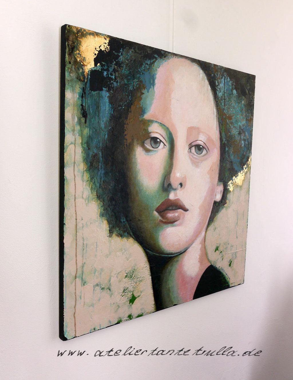 abstraktes Gemaelde Portrait Frau