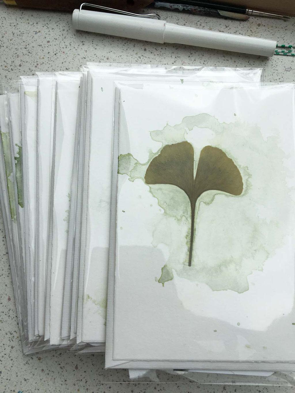 handgemachte Grusskarten Ginkgo
