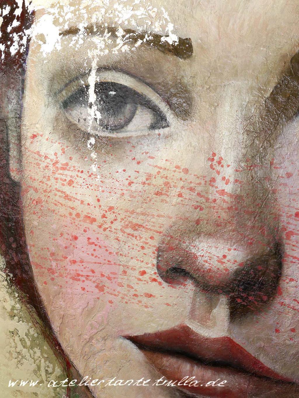 Mixed Media Gemaelde Gesicht Frau mit roten Haaren