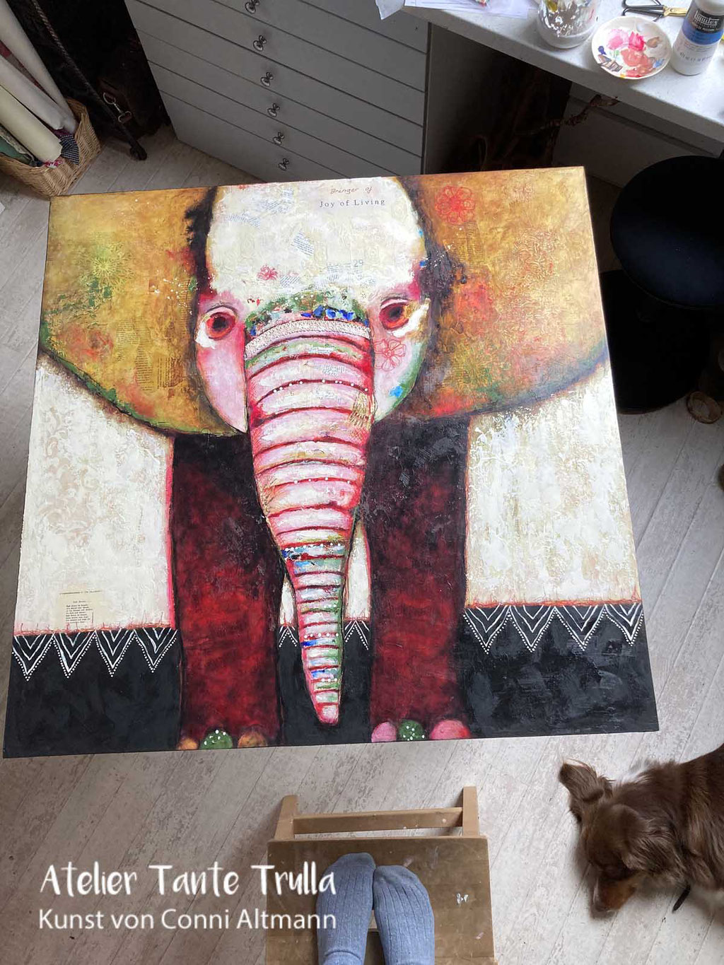 elephant painting by Conni Altmann, www.ateliertantetrulla.de